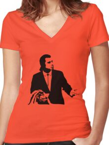 Pulp Fiction Vincent Vega Confused Women's Fitted V-Neck T-Shirt