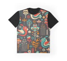 Happy Birds and Flowers Graphic T-Shirt