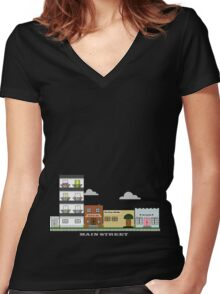 Home Town - Main Street Women's Fitted V-Neck T-Shirt