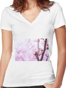 Cherry Blossom Women's Fitted V-Neck T-Shirt
