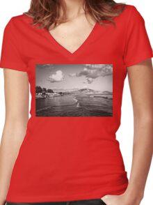 Zakynthos Greece Island landscape Women's Fitted V-Neck T-Shirt
