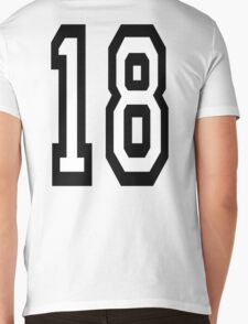 18, TEAM SPORTS, NUMBER 18, EIGHTEEN, EIGHTEENTH, ONE, EIGHT, Competition,  Mens V-Neck T-Shirt
