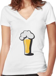 Beer drinking glass drinking alcohol Women's Fitted V-Neck T-Shirt