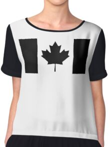 "CANADA, CANADIAN, Canadian Flag, National Flag of Canada, Funeral, Mourning,  ""A Mari Usque Ad Mare"" Pure & Simple in BLACK,  Chiffon Top"