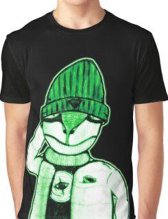 Bioluminescent Lizard Guy in Green Graphic T-Shirt