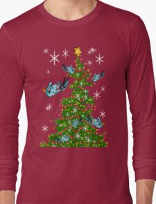 Snow Birds Decorate the Christmas Tree Long Sleeve T-Shirt