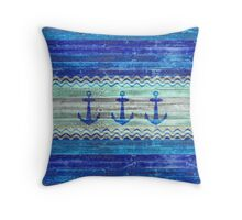 Rustic Navy Blue Coastal Decor Anchors Throw Pillow