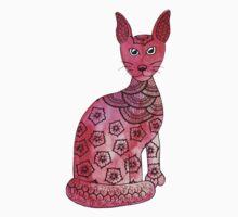Sleek pink cat  One Piece - Short Sleeve