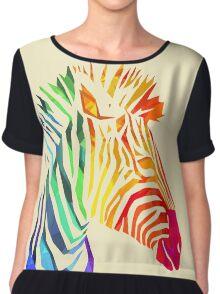 Low-Poly Rainbow Zebra Chiffon Top