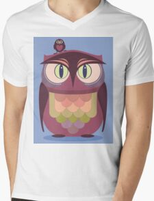 THE SAT UPON OWL Mens V-Neck T-Shirt