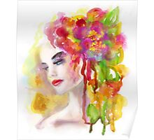 Spring woman.  watercolor, Poster