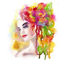 Spring woman.  watercolor, Photographic Print
