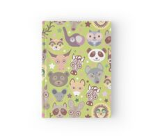Funny animals on green Hardcover Journal