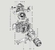 Nikon camera diagram attributed to 'J.leGuernic, 1976'. Unisex T-Shirt