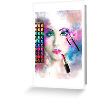 Woman face. fashion illustration. make up,abstract Greeting Card