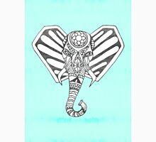 Hand Drawn Bohemian Tangle Elephant Aqua Tie Dye Unisex T-Shirt