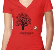 If an Acorn falls in the Forest.... Women's Fitted V-Neck T-Shirt
