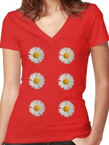 Six white daisies Women's Fitted V-Neck T-Shirt