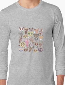 Funny animals on green Long Sleeve T-Shirt