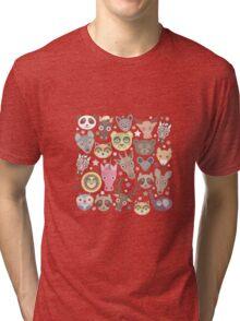 Funny animals on green Tri-blend T-Shirt
