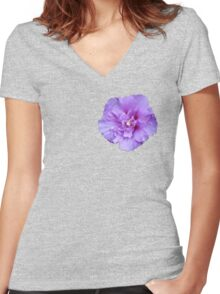 Purple hibiscus flower Women's Fitted V-Neck T-Shirt