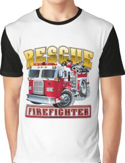 Vector Cartoon Fire Truck Graphic T-Shirt