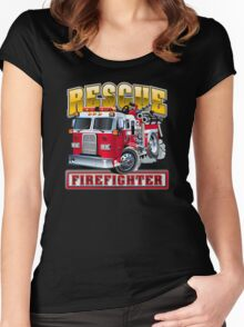 Vector Cartoon Fire Truck Women's Fitted Scoop T-Shirt
