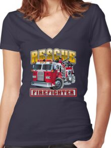 Vector Cartoon Fire Truck Women's Fitted V-Neck T-Shirt