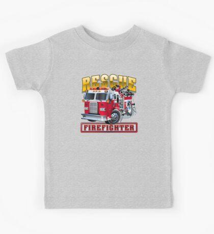 Vector Cartoon Fire Truck Kids Tee
