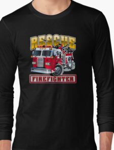 Vector Cartoon Fire Truck Long Sleeve T-Shirt