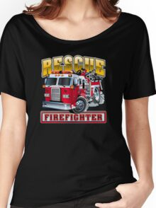 Vector Cartoon Fire Truck Women's Relaxed Fit T-Shirt