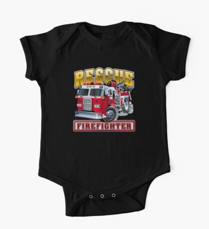 Vector Cartoon Fire Truck One Piece - Short Sleeve