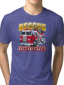 Vector Cartoon Fire Truck Tri-blend T-Shirt