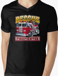 Vector Cartoon Fire Truck Mens V-Neck T-Shirt