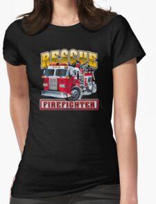 Vector Cartoon Fire Truck Womens Fitted T-Shirt
