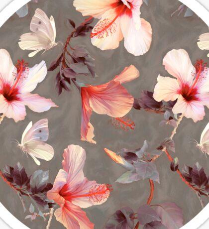 Coral Hibiscus Sticker