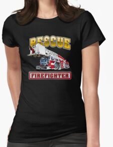 Cartoon Fire Truck Womens Fitted T-Shirt