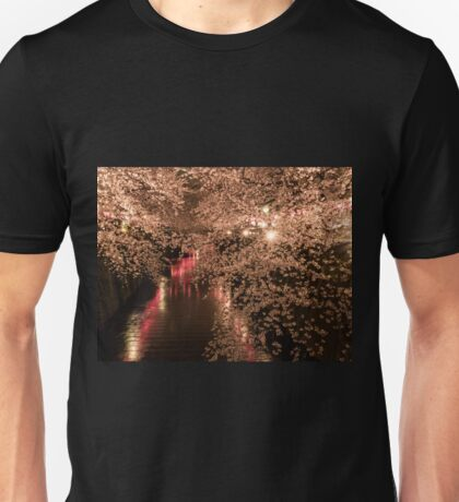 Sakura trees are full bloom at Meguro river Unisex T-Shirt