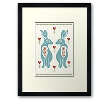 Folk Hare Love Framed Print
