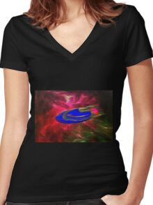 A Plasma (antimatter) Drive Solar System Cruiser Women's Fitted V-Neck T-Shirt