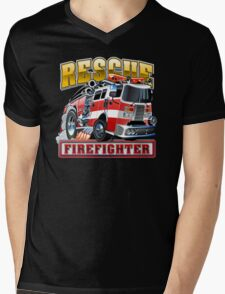 Cartoon Fire Truck Mens V-Neck T-Shirt