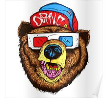 Bear With 3D Glass Poster