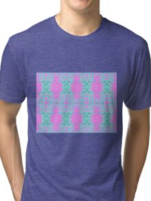 Pink and Green Abstract Print Tri-blend T-Shirt