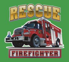Cartoon Fire Truck Baby Tee