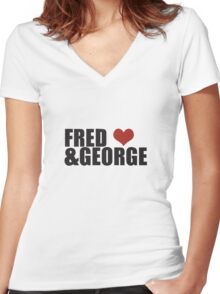 Fred and George Love  Women's Fitted V-Neck T-Shirt