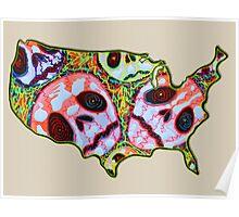 Skull Map USA Poster