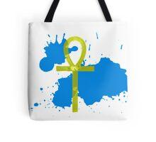 Gold Ankh Blue Splatter Tote Bag