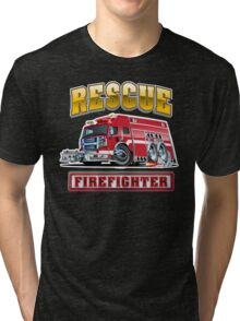 Cartoon Fire Truck Tri-blend T-Shirt
