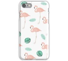 Hand paint pink flamingo tropical leaf watercolor iPhone Case/Skin