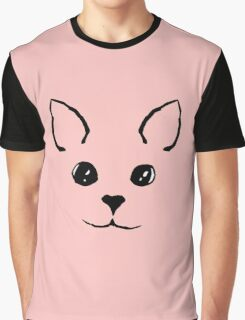 Cute Adorable Hand Drawn Kitty Face Pink and Black Graphic T-Shirt